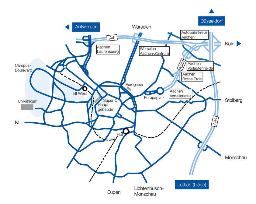 Road Map of Aachen