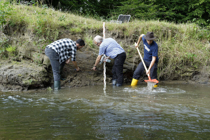 Sampling of the sediments at the Wurm River