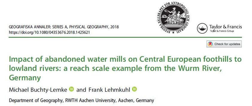 First page Impact of abandoned water mills on Central European foothills