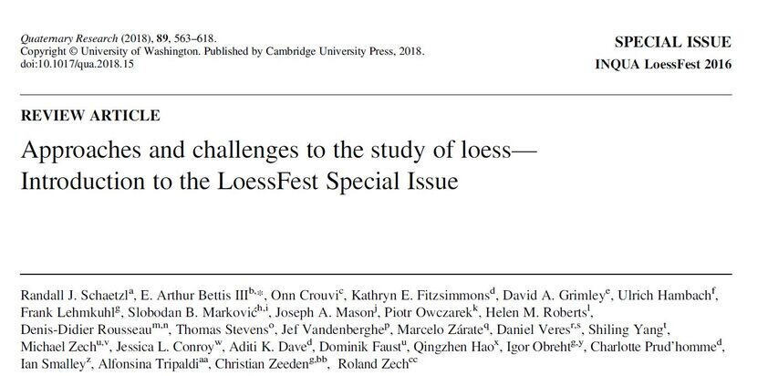 First page Erste Seite Approaches and challenges in the study of loess