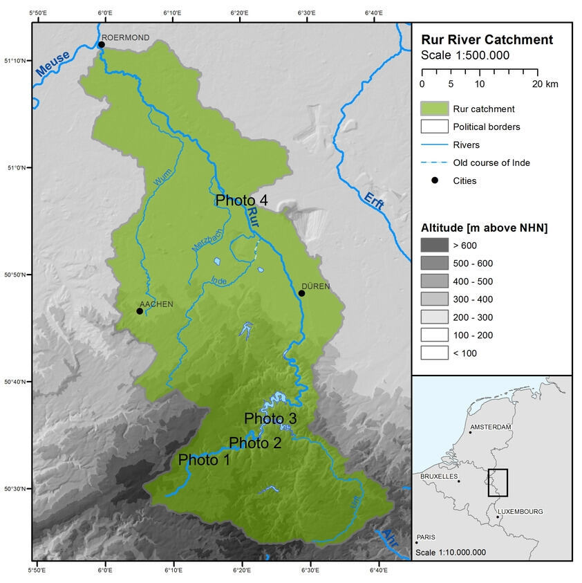 Overview map of the Rur catchment area