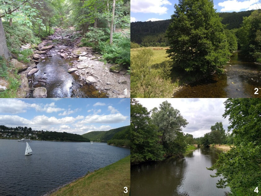 Landscape photographies of the upper reaches of the Rur River, the Rur River dam Schwammenauel, and the middle reaches