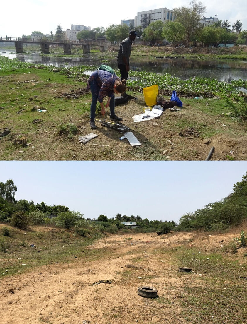 Two pictures showing the sampling and another sample site at the Cooum River